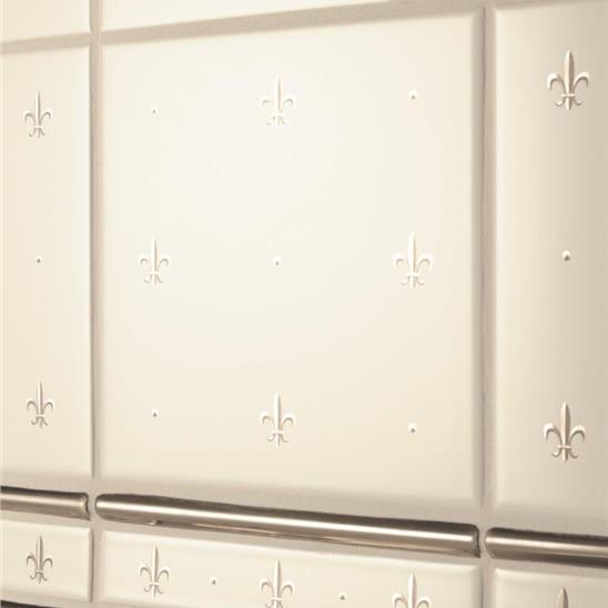 Fleur de Lis Platinum on Brilliant White (2 Tile Set)