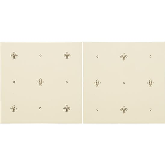 Fabergé Fleur de Lis 2-tile Set Charcoal Grey on Colonial White