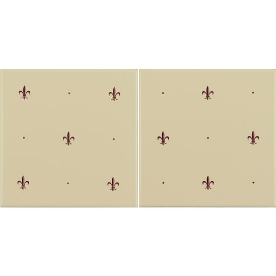 Fleur de Lis Burgundy on Colonial White (2 Tile Set)