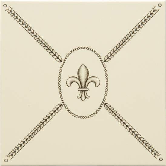 Cartouche with Fabergé Fleur de Lis Charcoal Grey on Colonial White