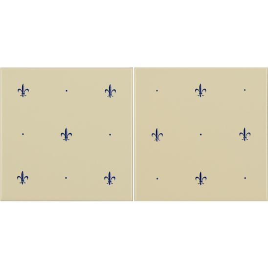 Fleur de Lis Royal Blue On Colonial White (2 Tile Set)