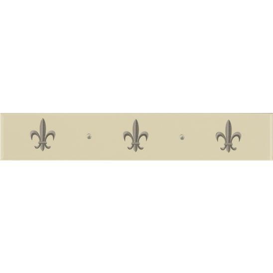 Fleur de Lis Border Platinum on Brilliant White